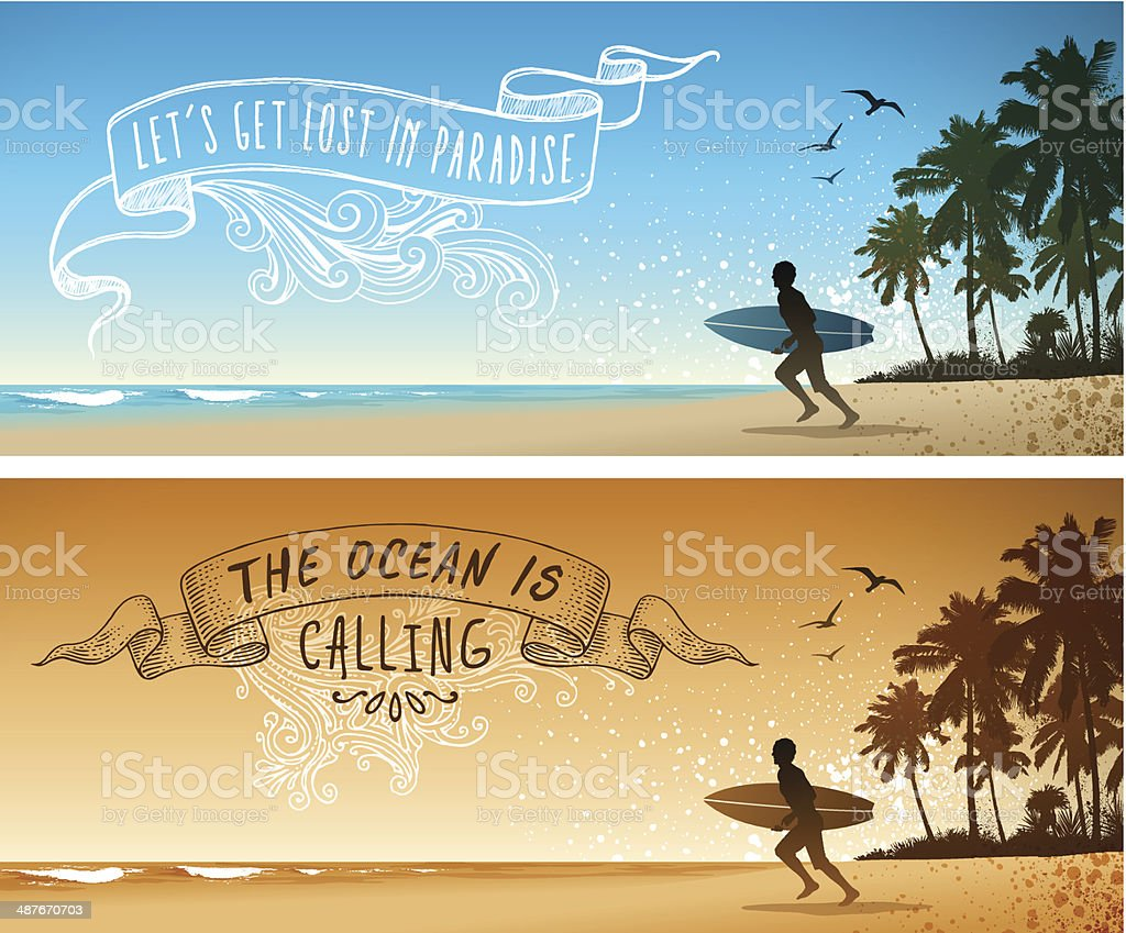 Surfing Backgrounds vector art illustration