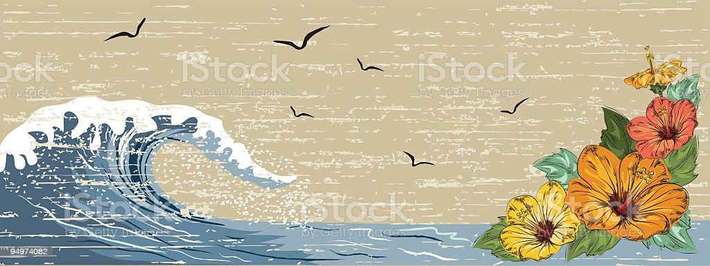 Surfing Banner vector art illustration
