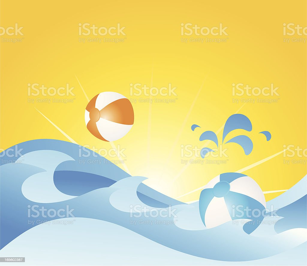 Surfing beach balls royalty-free stock vector art