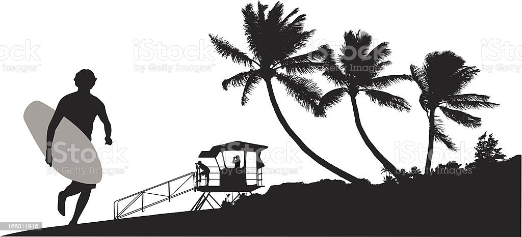Surfing Beach royalty-free stock vector art
