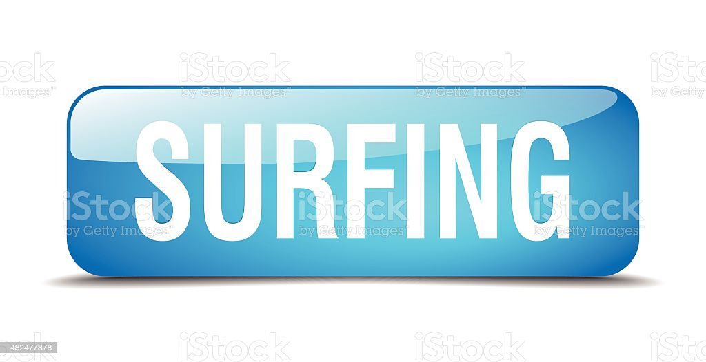 surfing blue square 3d realistic isolated web button vector art illustration