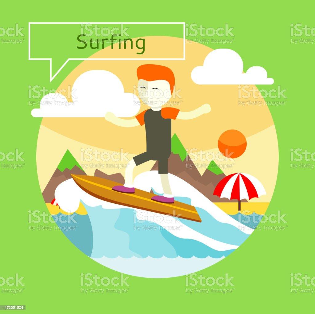 Surfing concept vector art illustration
