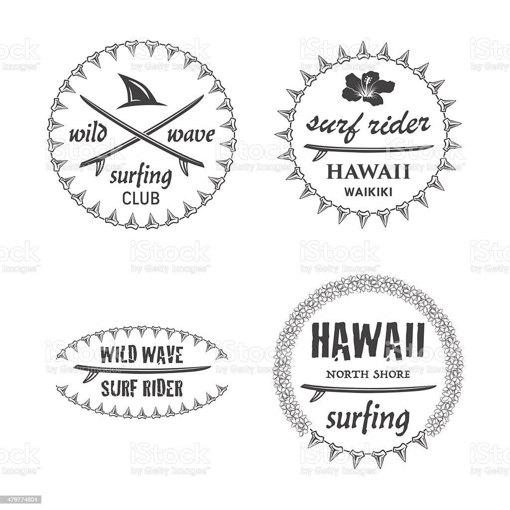Surfing emblem set 1 vector art illustration
