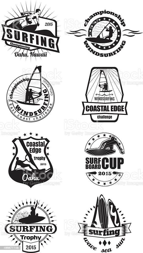 Surfing emblems vector art illustration