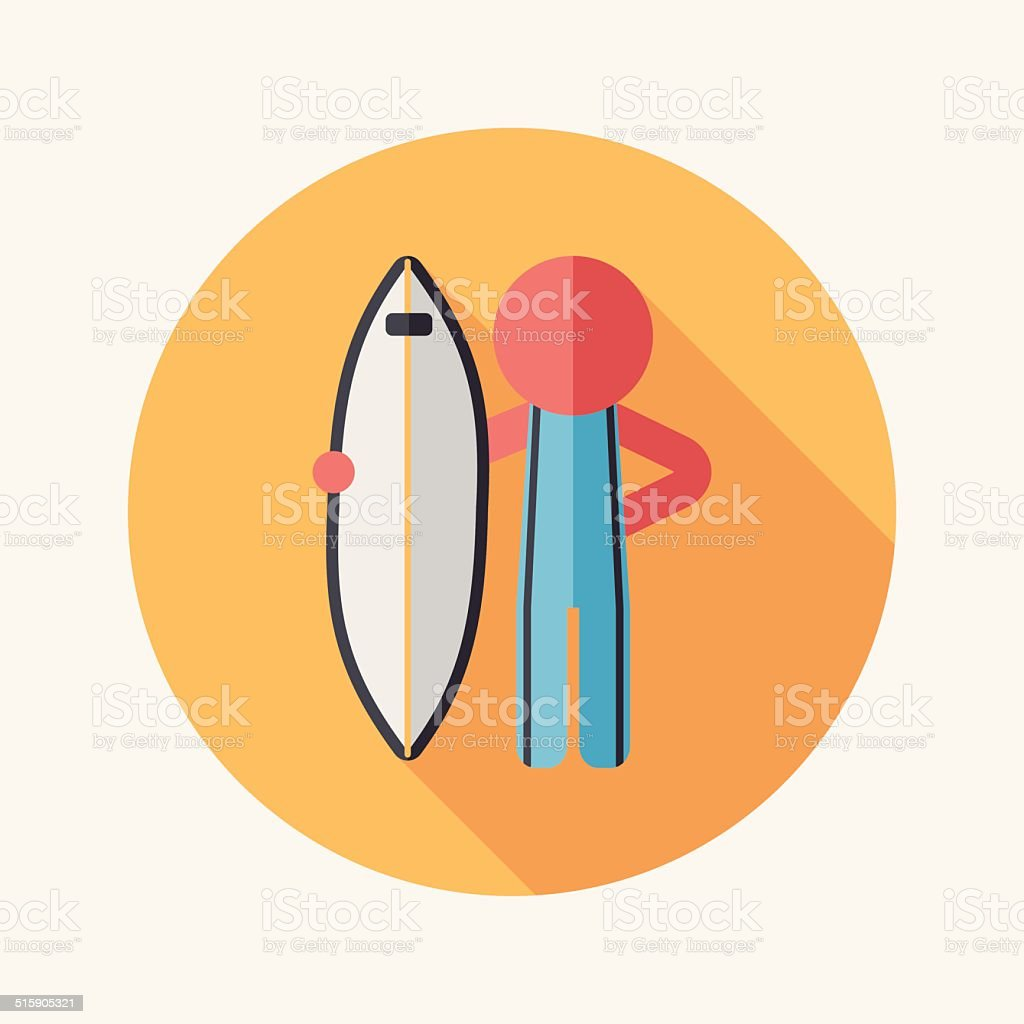 surfing flat icon with long shadow vector art illustration