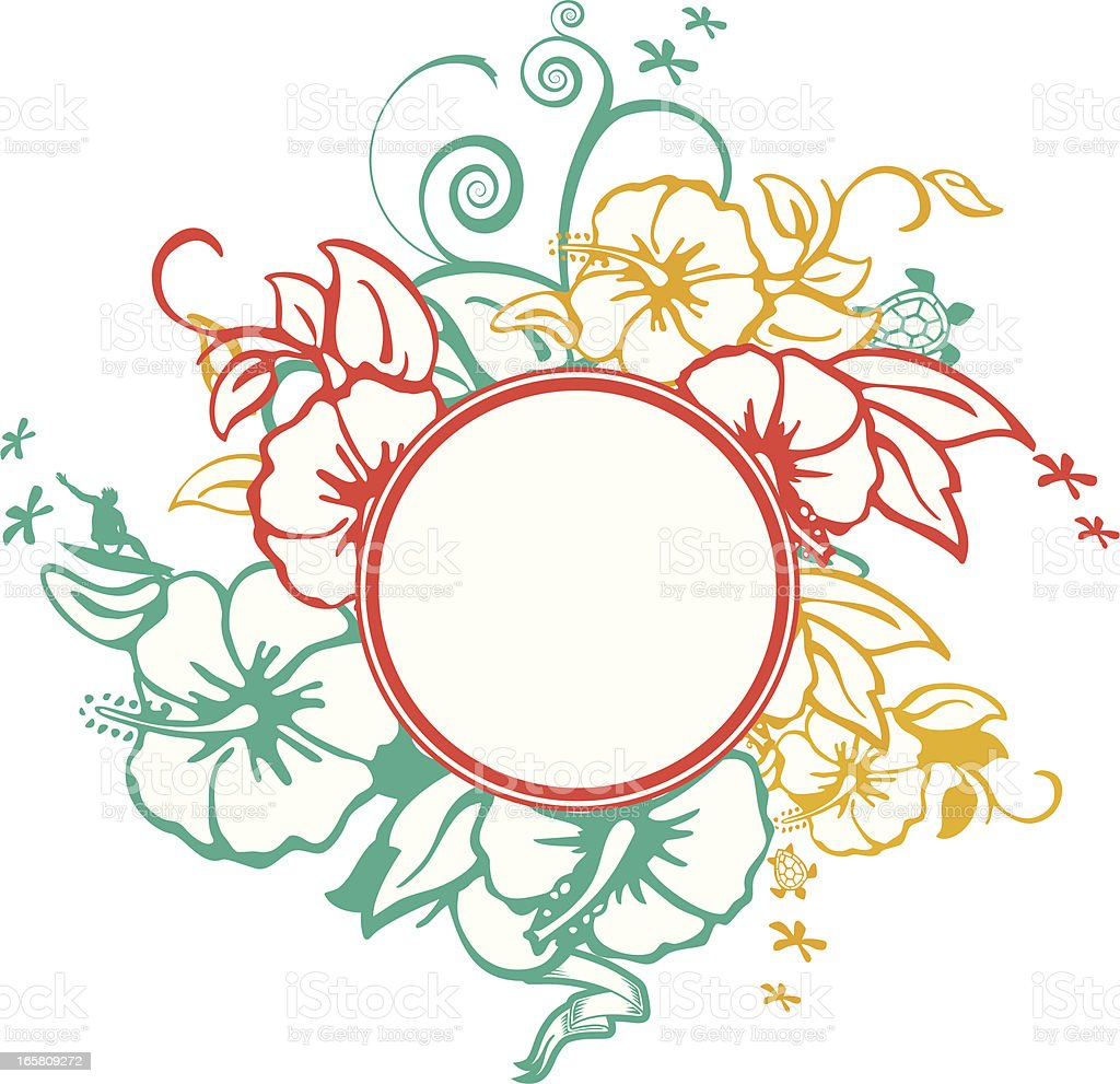 Surfing flowery motif royalty-free stock vector art