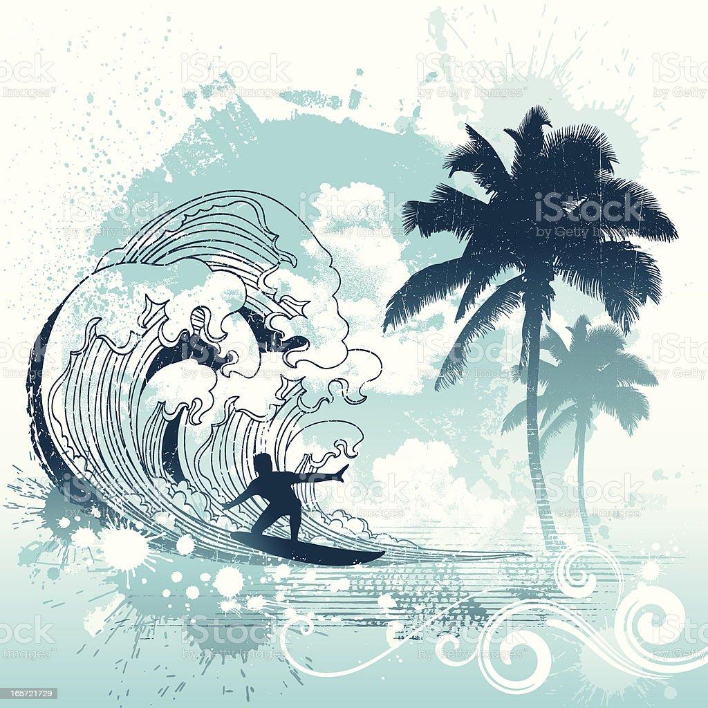 Surfing Grunge vector art illustration