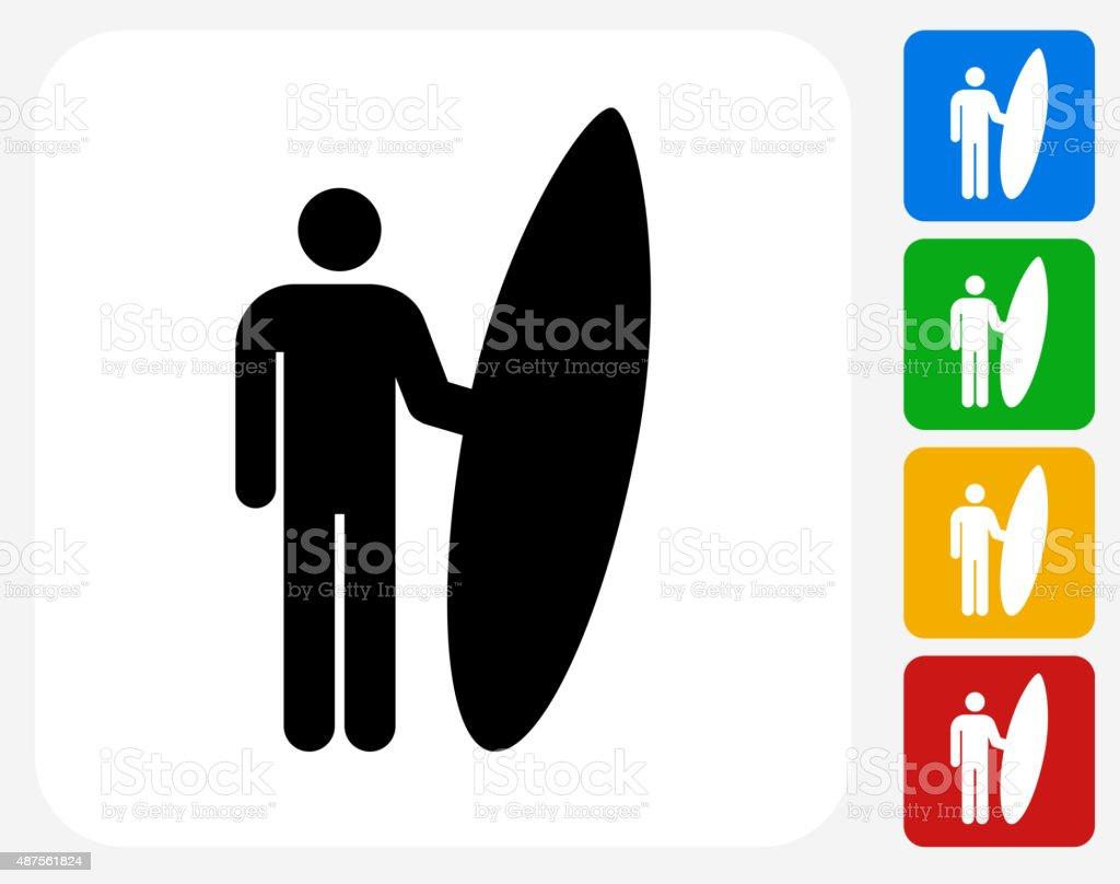Surfing Icon Flat Graphic Design vector art illustration