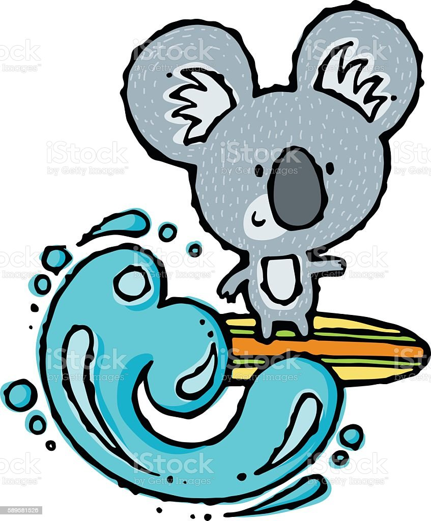 Surfing Koala vector art illustration