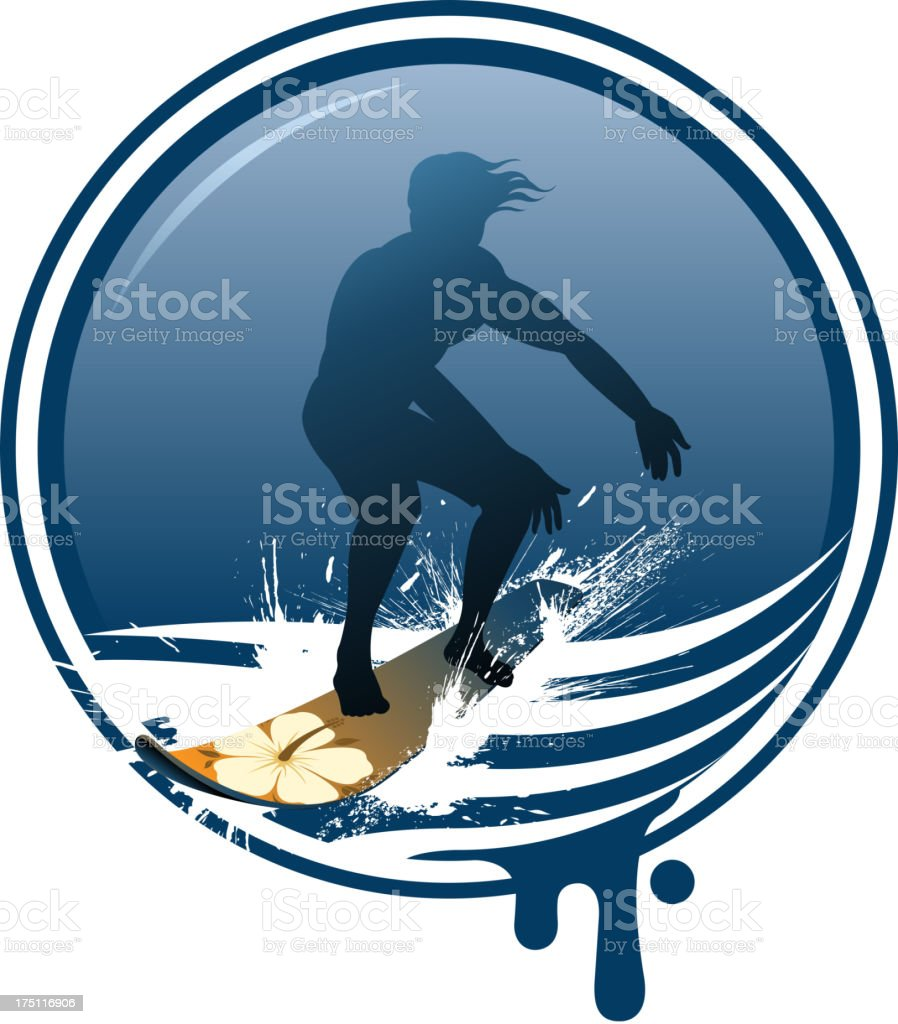 surfing label royalty-free stock vector art