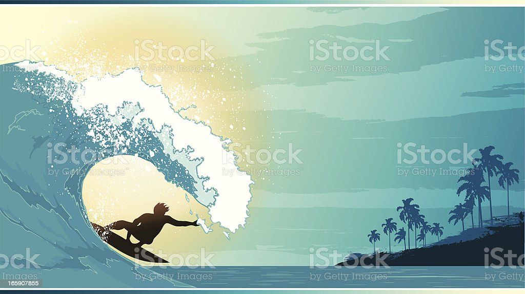 Surfing landscape vector art illustration