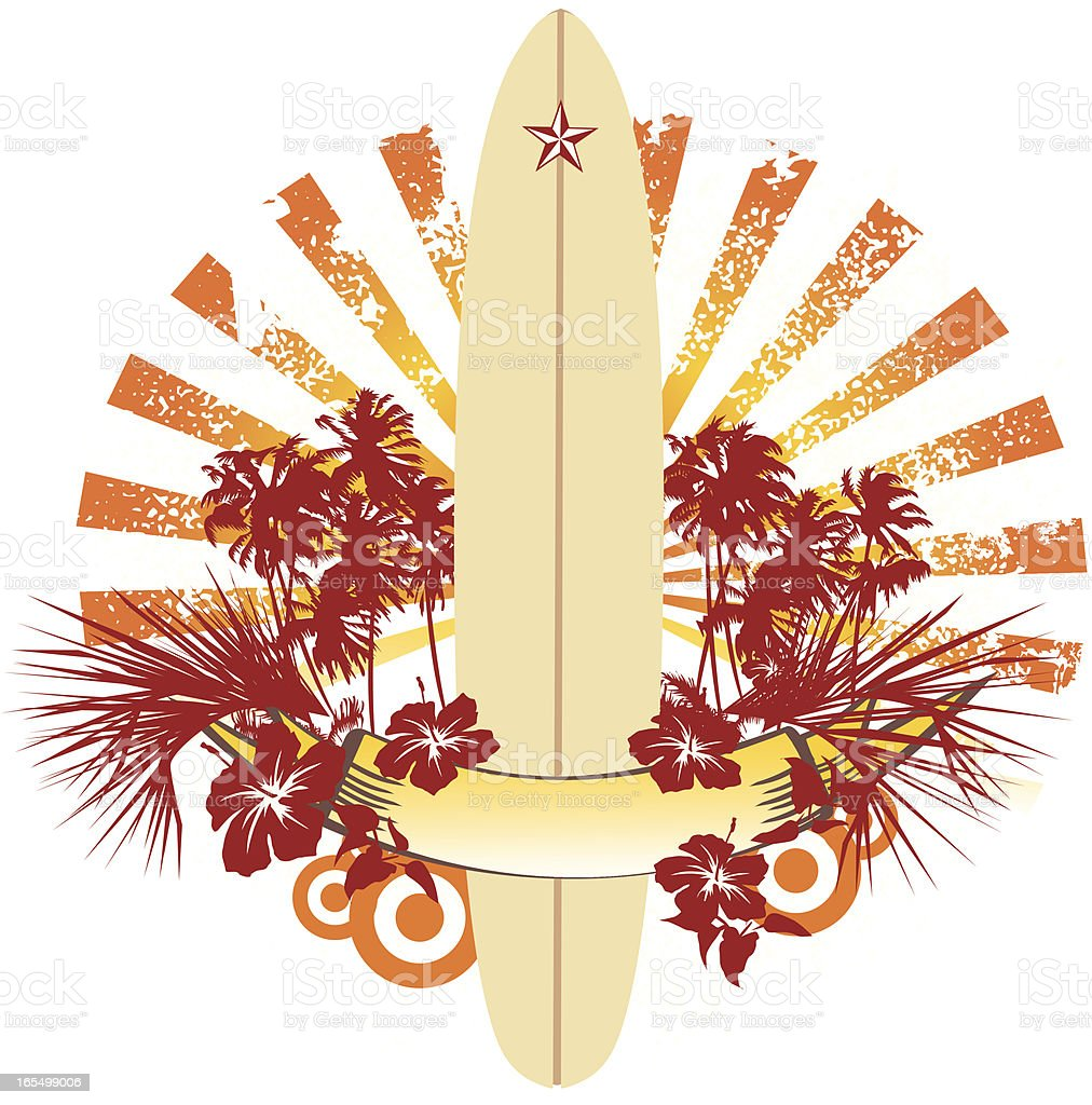 surfing longboard and palm trees emblem royalty-free stock vector art