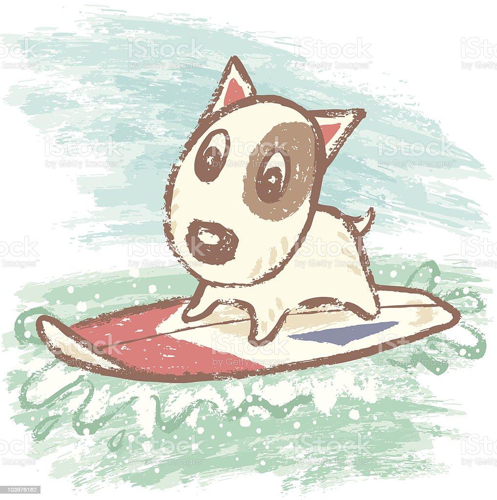 Surfing of bullterrier royalty-free stock vector art