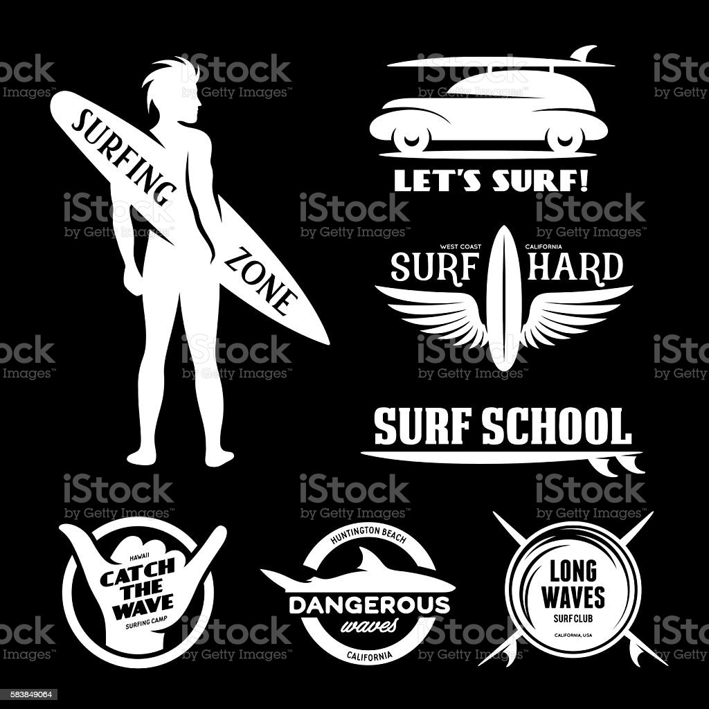 Surfing related labels set. Vector vintage illustration. vector art illustration