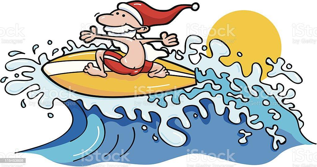 Surfing Santa royalty-free stock vector art