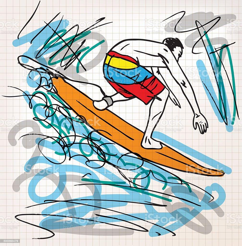 Surfing sketch illustration vector art illustration