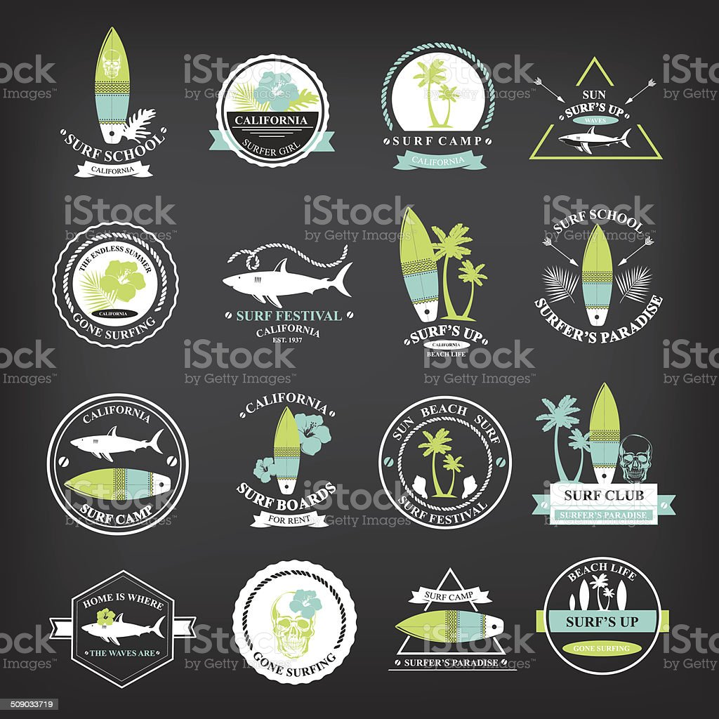 Surfing summer icons,vector labels collection. vector art illustration