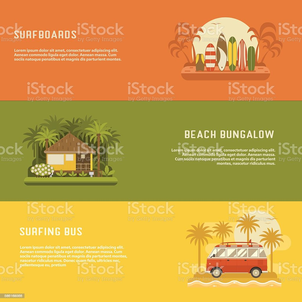 Surfing Travel Banners Set vector art illustration