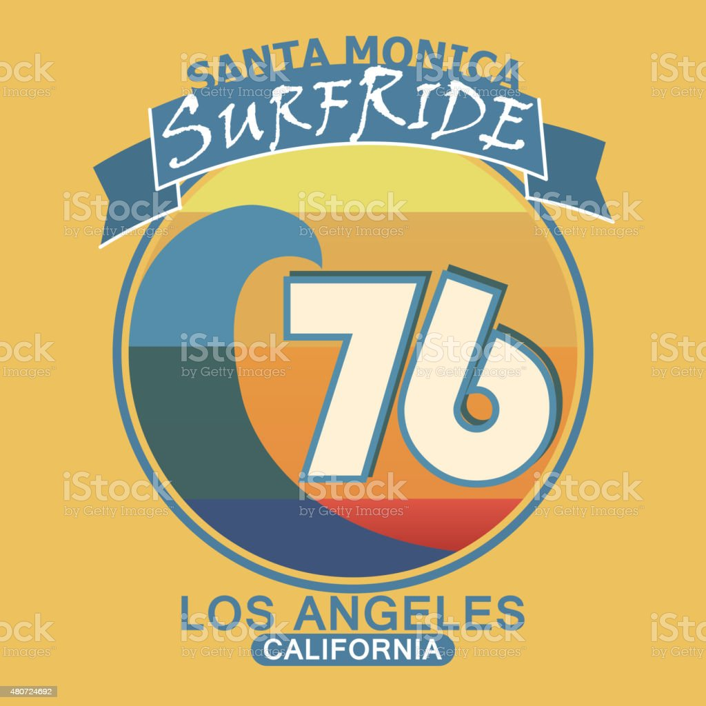 Surfing t-shirt graphic design. Santa Monica California surf typ vector art illustration