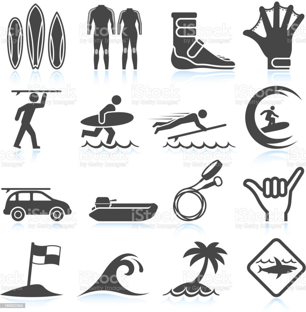 Surfing Vacation black & white icon set vector art illustration