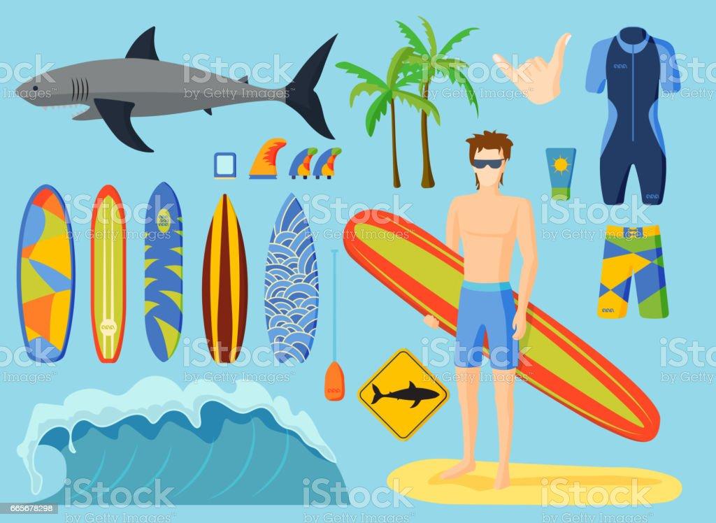 Surfing vector set vector art illustration