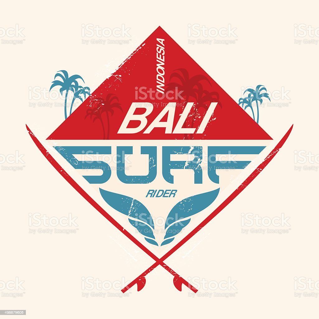 Surfing vintage lable with waves, palm and surfboards. vector art illustration
