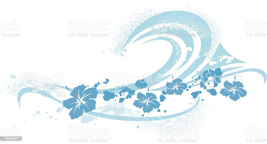 surfing wave symbol and hibiscus vector art illustration