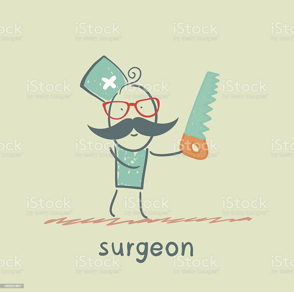 Surgeon holding a saw royalty-free stock vector art