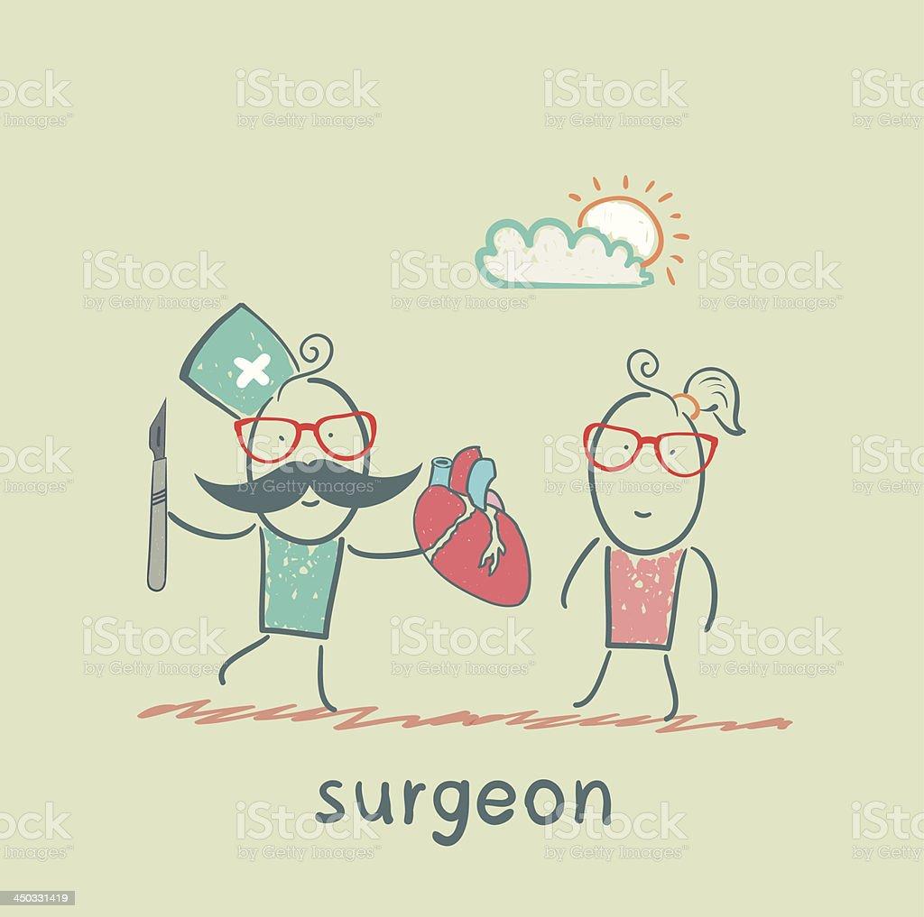 surgeon holding a scalpel royalty-free stock vector art