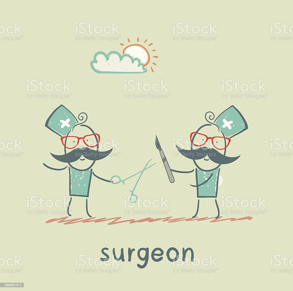 Surgeons hold a scalpel and scissors royalty-free stock vector art