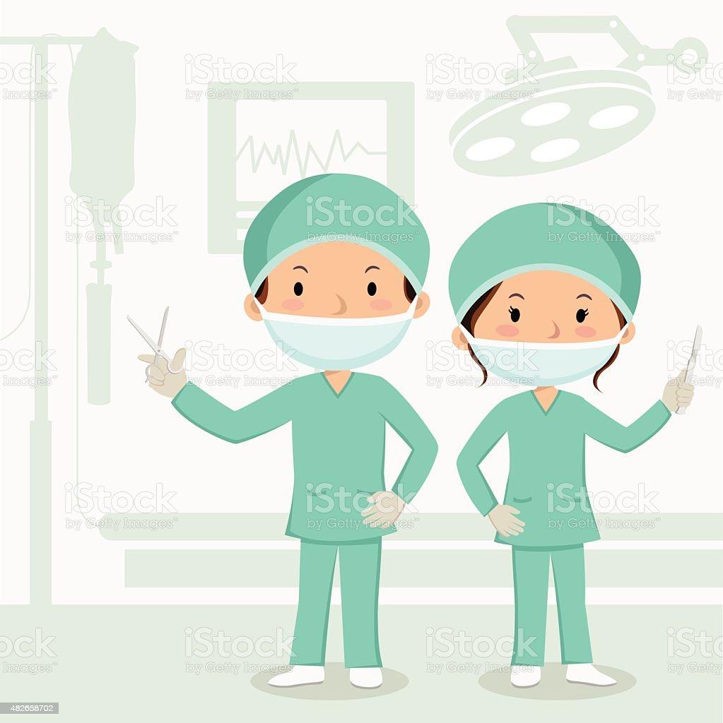 Surgeons in the operation theater vector art illustration