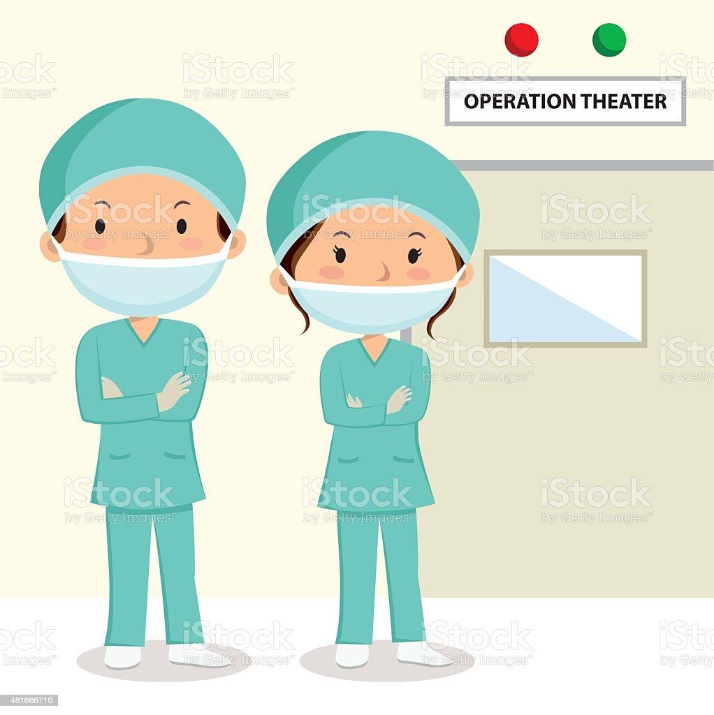 Surgeons vector art illustration