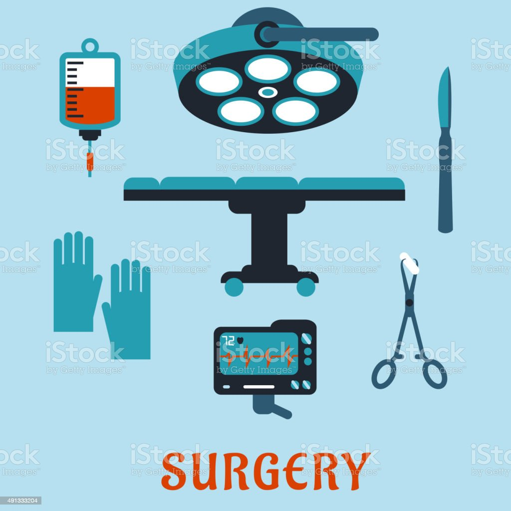 Surgery flat icons with operating room vector art illustration