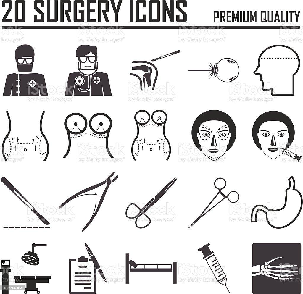 surgery icons, mono vector symbols vector art illustration
