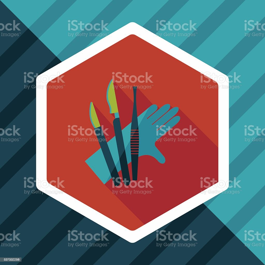 Surgical Instrument flat icon with long shadow vector art illustration