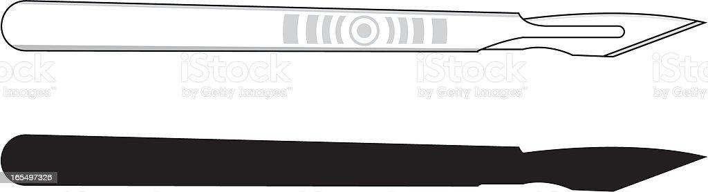 Surgical Scalpel Detailed & Silhouette vector art illustration
