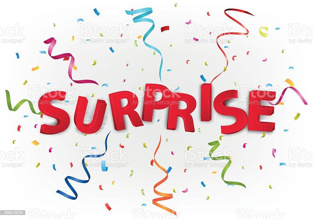 Surprise celebration with colorful confetti vector art illustration
