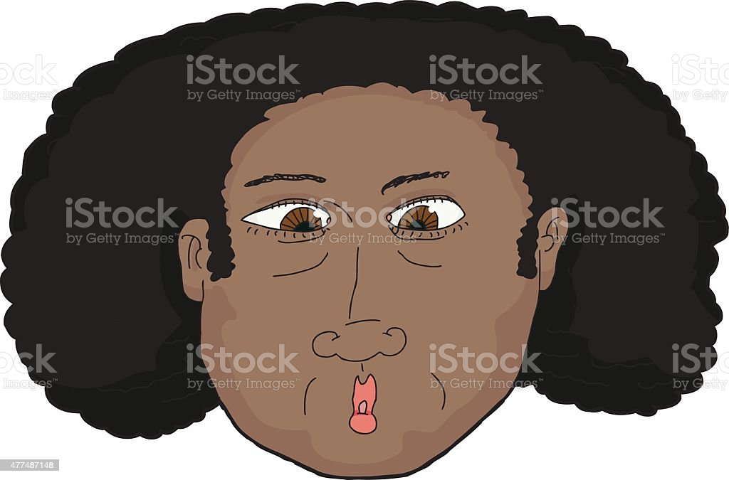 Surprised African Woman vector art illustration