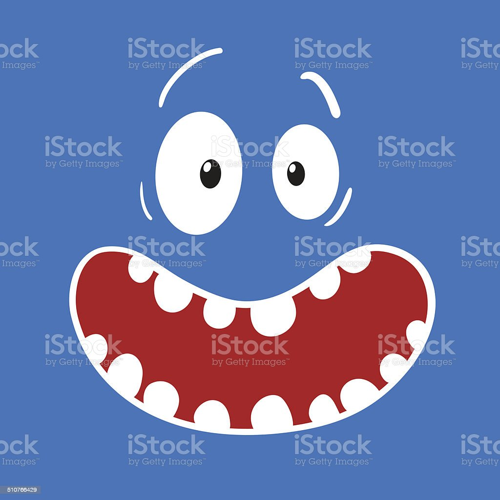 Surprised Cartoon Blue Face vector art illustration