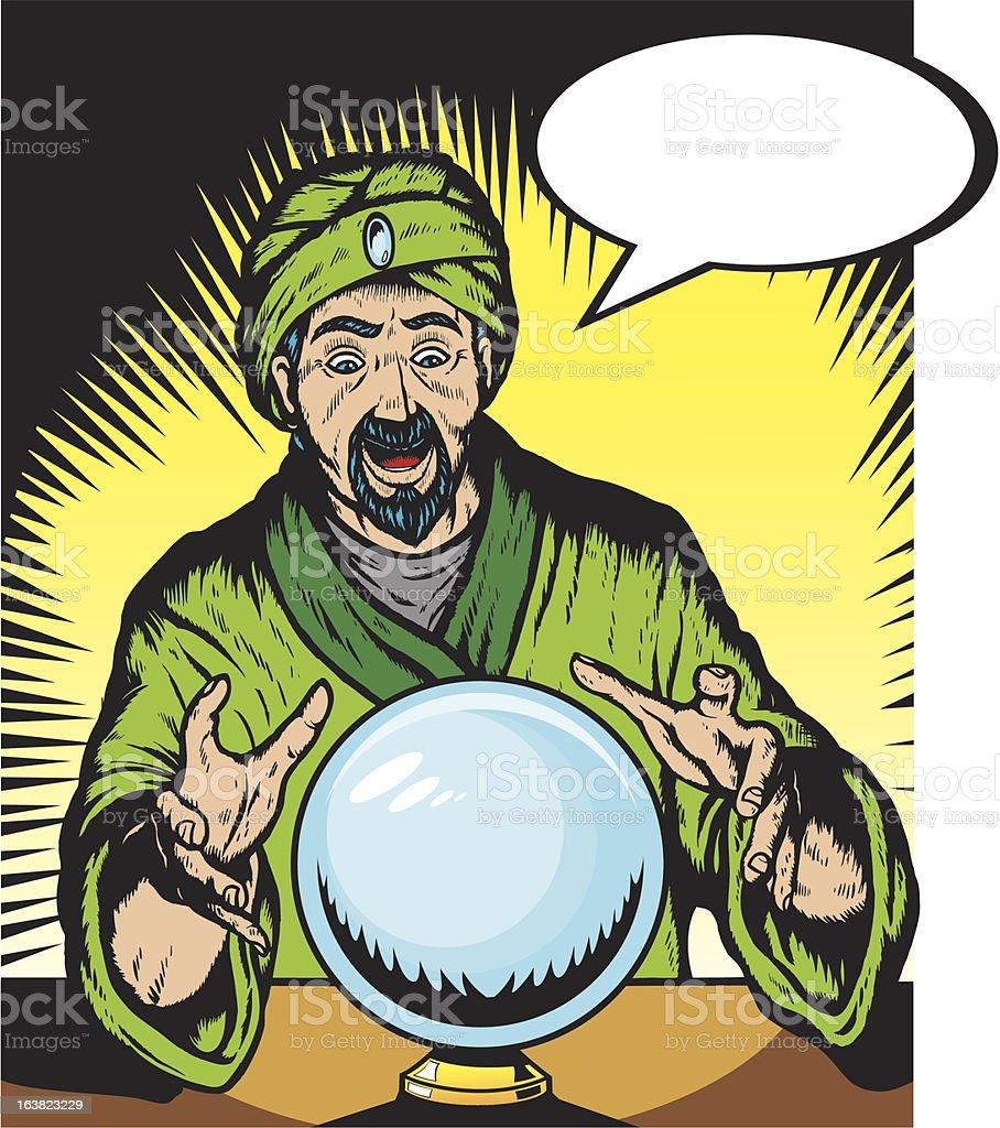Surprised cartoon fortune teller looking into a crystal ball vector art illustration
