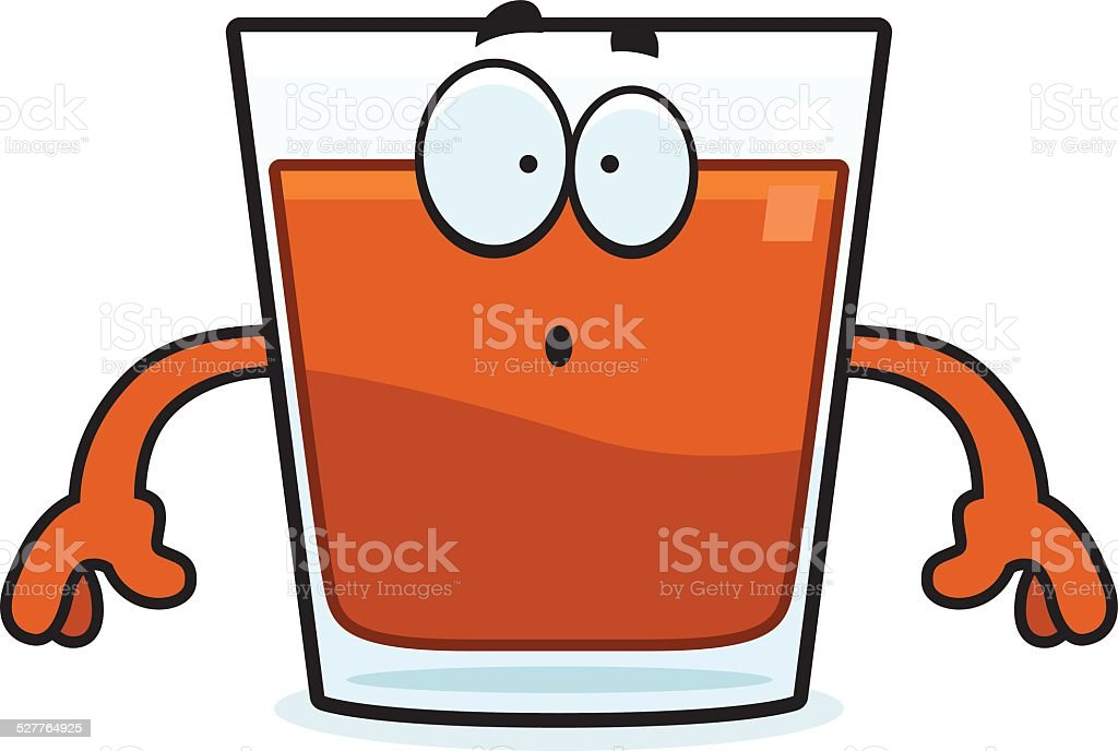 Surprised Cartoon Shot Glass vector art illustration