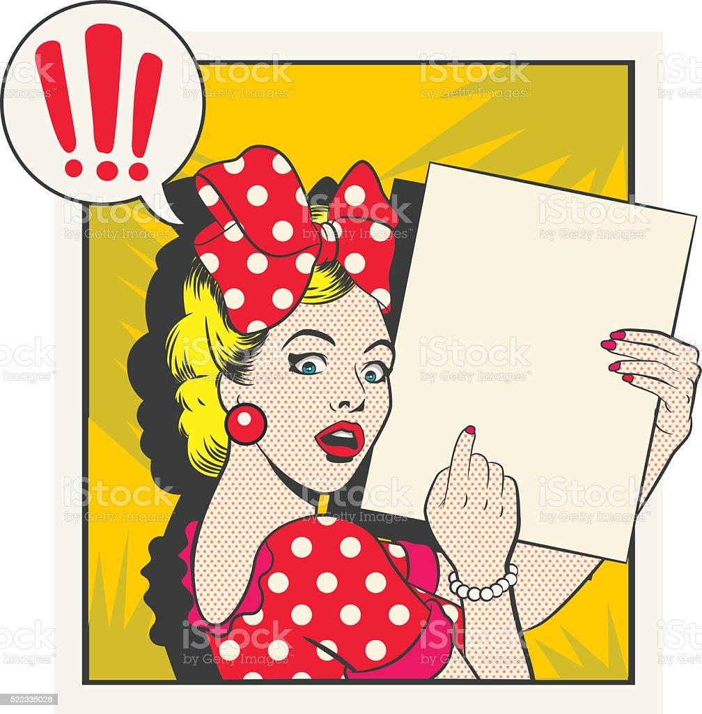 Surprised Cartoon vintage - Ilustration vector art illustration