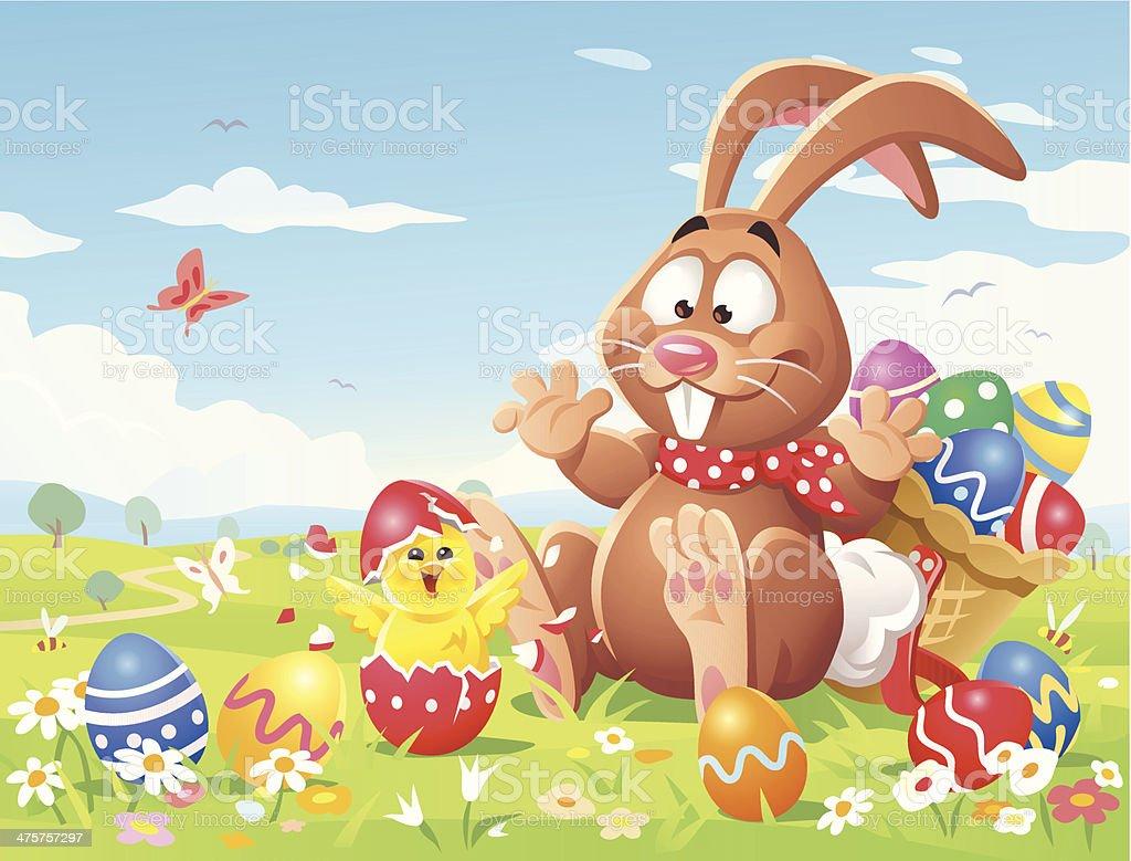 Surprised Easter Bunny vector art illustration
