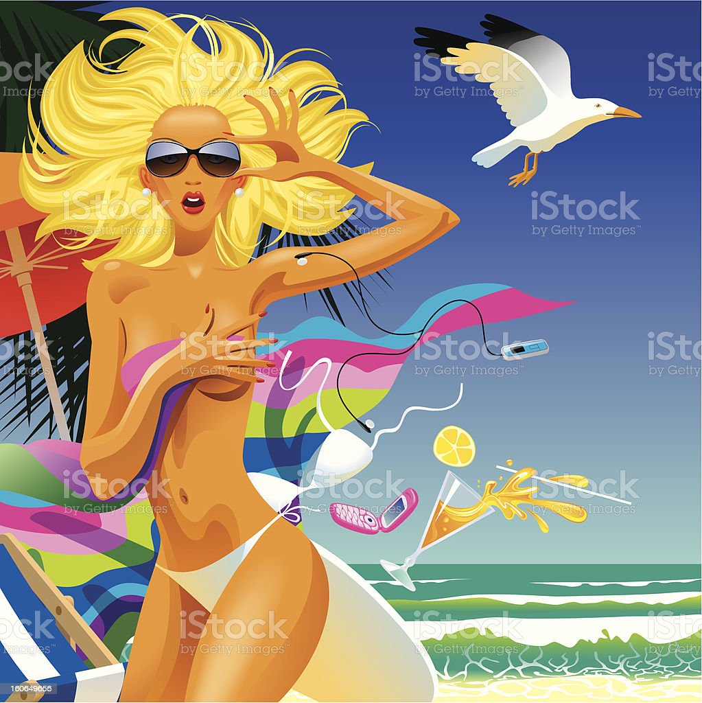 Surprised girl in an beach royalty-free stock vector art