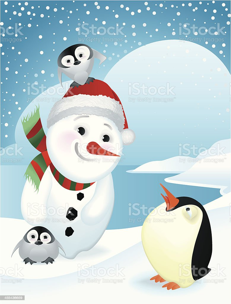 Surprised penguin meeting a Happy Christmas snowman royalty-free stock vector art