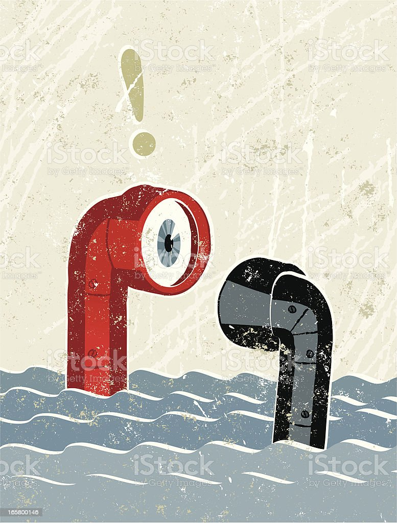 Surprised Periscopes Meeting in the Sea vector art illustration