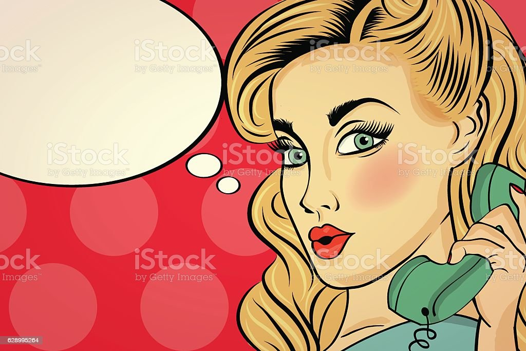 Surprised pop art woman  . Comic woman with speech bubble vector art illustration