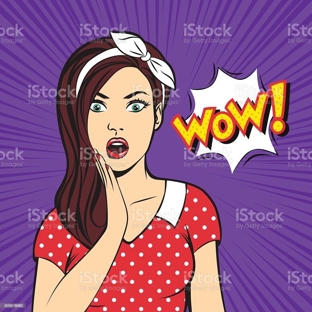 Surprised pop art woman vector art illustration