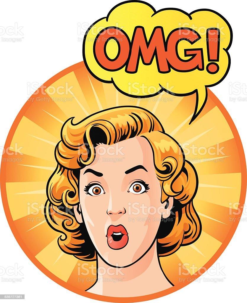 Surprised Retro Woman Saying OMG vector art illustration
