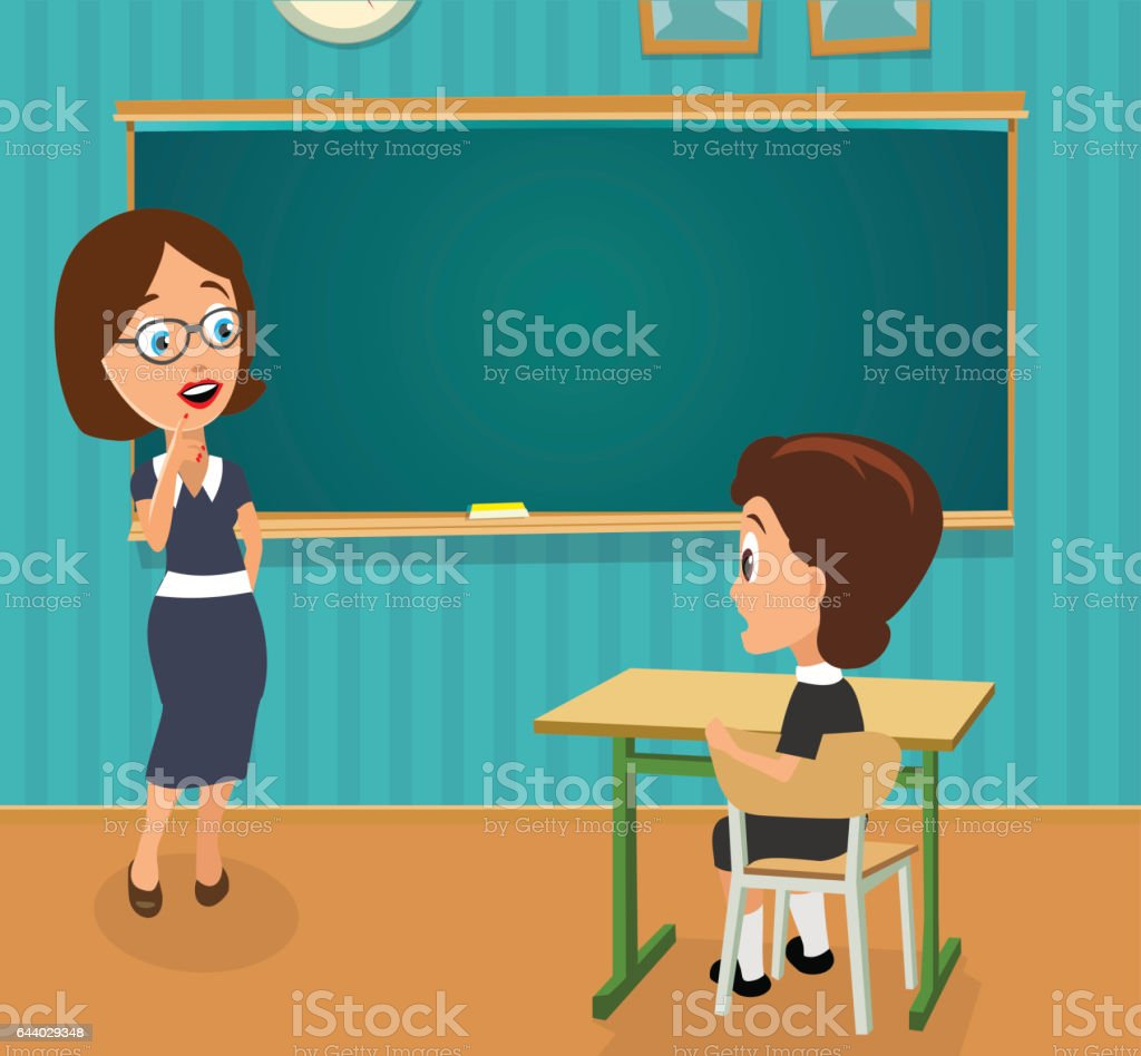 Surprised teacher with open mouth and schoolgirl sitting at a desk turning half-turned. vector art illustration